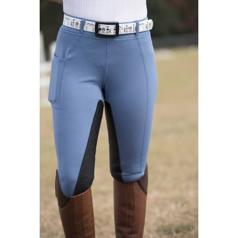 Fits Ladies Performax All Season Pull-On Leather Full Seat Breech - Bleu