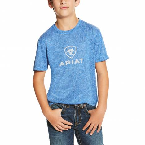 Ariat Boys Charger Logo Top - Olympian Blue