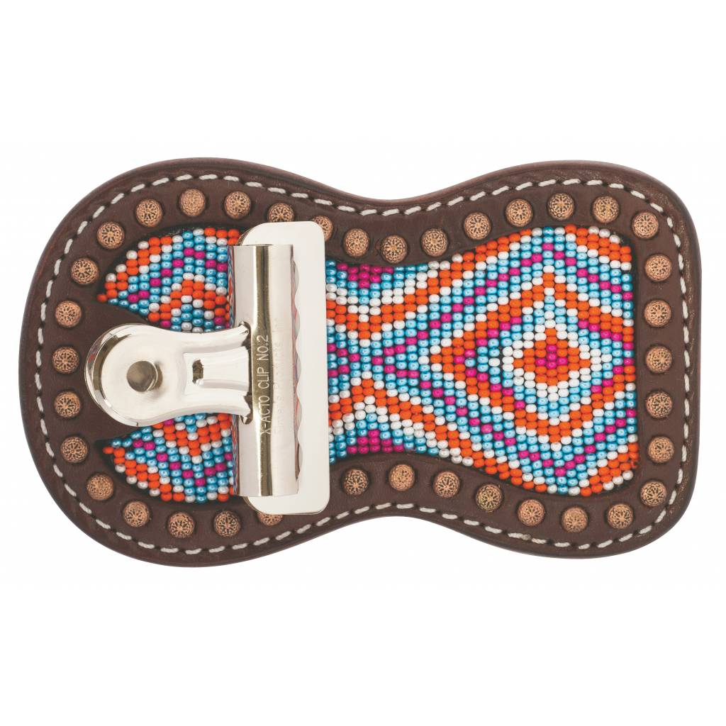 Weaver Leather Beaded Show Number Holder Multi Color Diamond Pattern