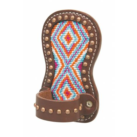 Weaver Leather Beaded Show Comb Holder Multi Color Diamond Pattern
