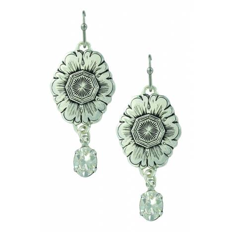 Montana Silver Antiqued Floral Pendant Dangle Earrings