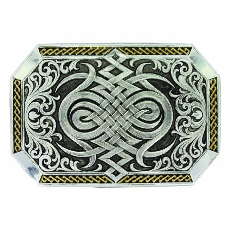 Montana Silver Antiqued Two Tone Western Celtic Knot Buckle