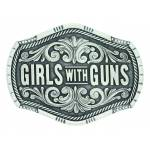 Montana Silversmiths Keeping Tabs on Girls with Guns Attitude Buckle