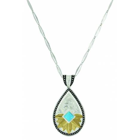 Montana Silver Opening to the Sun Feathered Flower Turquoise Necklace