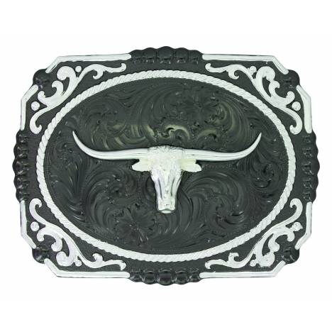 Montana Silver Two Tone Fastened at All Four Corners Buckle with Longhorn Steer