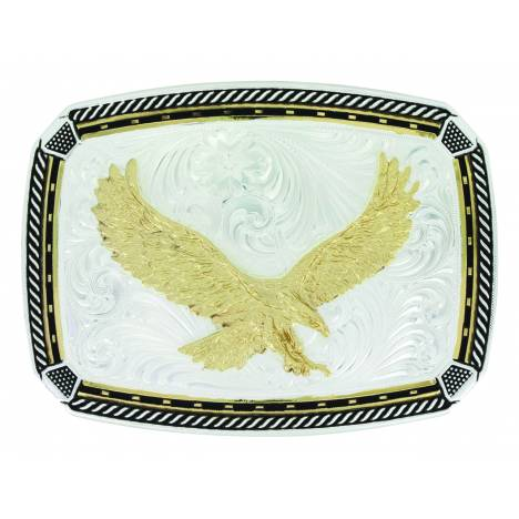 Montana Silver Two Tone Fastened at All Four Corners Buckle with Soaring Eagle