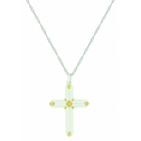 Montana Silver Two Tone Roped Cross Necklace