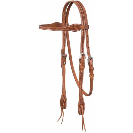 Tough-1 Basketweave Browband Headstall with Tie Ends
