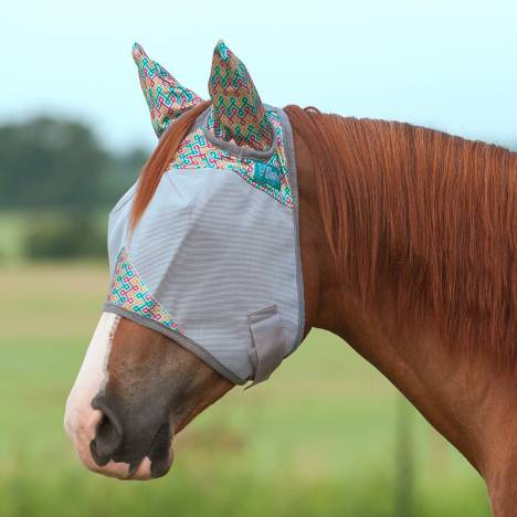 Cashel Fly Mask with Ears - Mint Maze