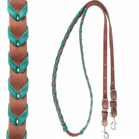 "Martin 3/4"" Barrel Reins with Colored Lace"