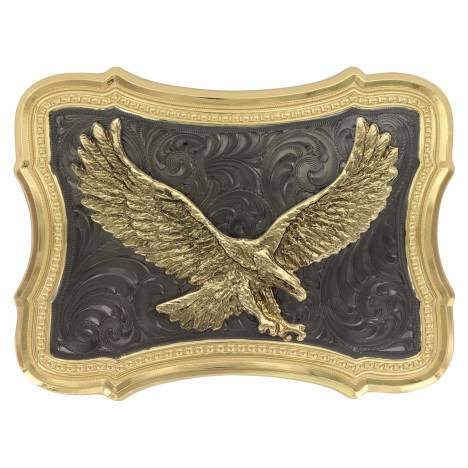 Montana Silversmiths Two Tone Scalloped Black Nickel Soaring Eagle Buckle