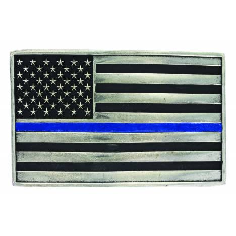 Montana Silversmiths Stand behind the Blue Line Flag Attitude Buckle
