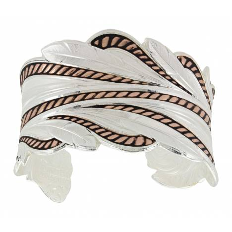 Montana Silversmiths Rose Gold Rope and Feathers Cuff Bracelet