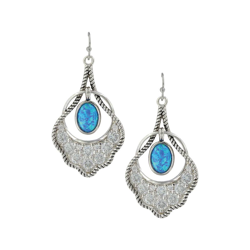 Montana Silversmiths Roped Scallop Opal Earrings
