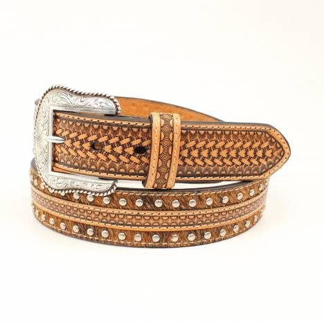 Nocona Mens Embossed Strip Calf Hair Belt