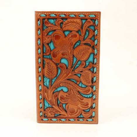 Nocona Floral Turquoise Underlay Rodeo Wallet