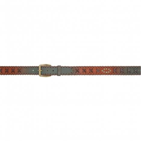 "3D Men's 1 1/2"" Cross Lacing Western Fashion Belt - Brown/Turquoise"