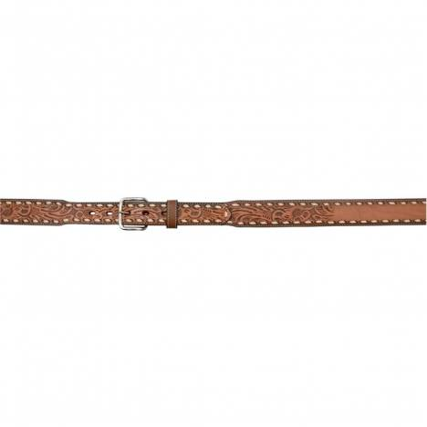 "3D Kids 1 1/2"" Tapered Floral Embossed Western Fashion Belt - Natural"