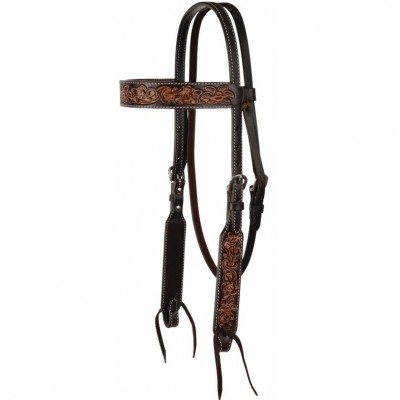 Circle Y Multi-Tone Filigree Browband Headstall - Med Oil/Dark Oil