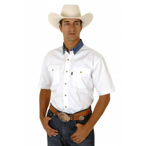 Roper Men's White Twill Short Sleeve Shirt with Denim Button Down
