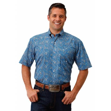 Roper Men's 1682 Blue Depths Paisley Short Sleeve Shirt
