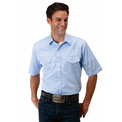 Roper Men's 1649 Diamond Tone On Tone - Blue Short Sleeve Shirt