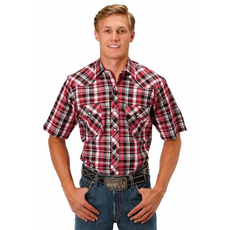 Roper Men's 1038 Black, Red & Whote Plaid Short Sleeve Shirt