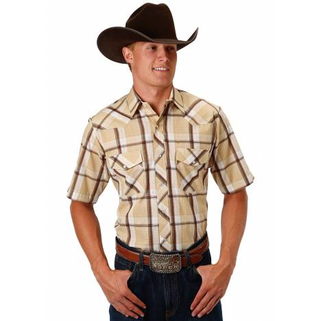 Roper Men's 1030 Tan & White Plaid With Gold Lurex Short Sleeve Shirt