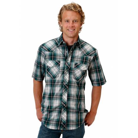 Roper Men's 1017 Teal, Black, & White Plaid Short Sleeve Shirt