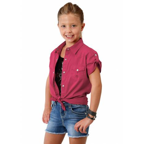 Roper Girls 1691 Solid Poplin - Red Short Sleeve Shirt