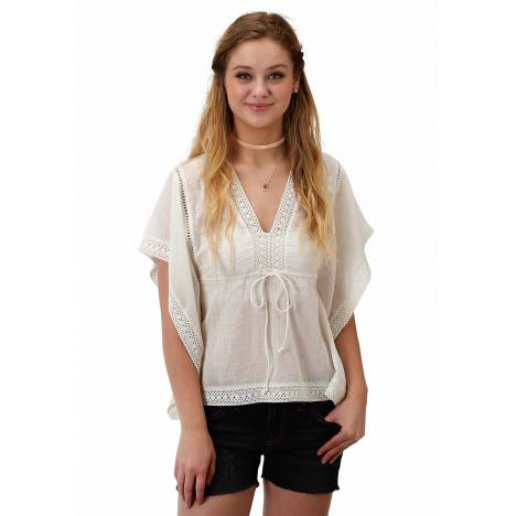 Roper Ladies 1627 White Cotton V Neck Blouse