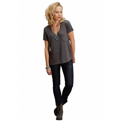 Stetson Ladies 1586 Rayon Spandex Jersey V Neck Tee
