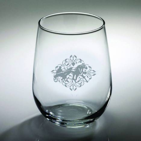 Kelley Harness Racing Floral Etched Stemless Wine Glass