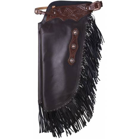 Tough-1 Faux Leather Chinks - Floral Tooled Yoke