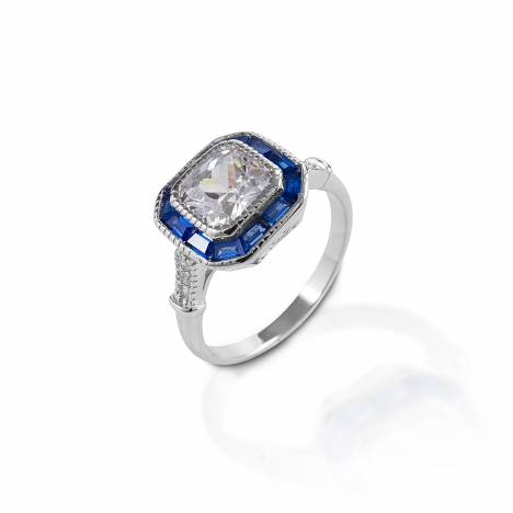 Kelly Herd Small Asscher Cut/Blue Spinel Ring - Sterling Silver