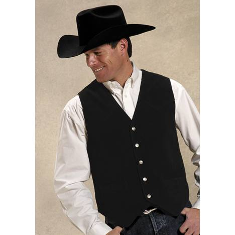 Roper Men's Suede Vest - Black