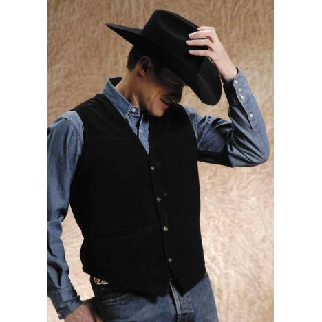 Roper Men's Big Man Satin Back Suede Vest - Black