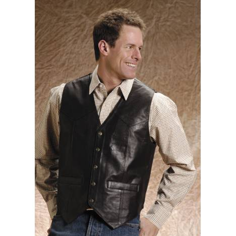 Roper Men's Big Man Lamb Skin Western Vest - Brown