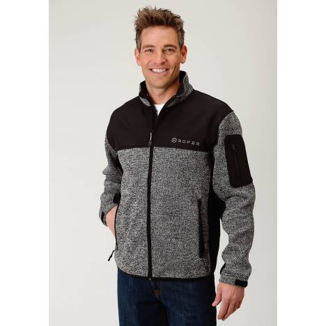 Roper Men's Sweater Bonded Fleece Jacket - Black/Grey