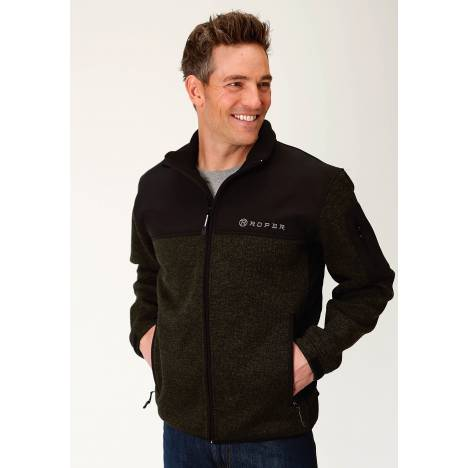 Roper Men's Sweater Bonded Fleece Jacket - Green/Black