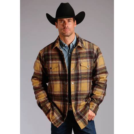 Stetson Men's Quilted Shirt Jacket - Wine Plaid