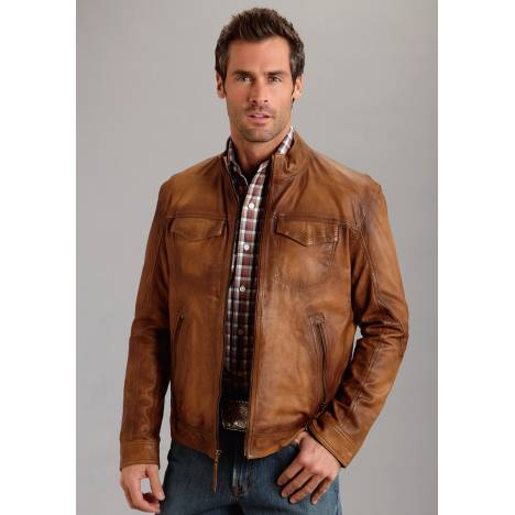 Stetson Men's Burnish Leather Jacket - Brown