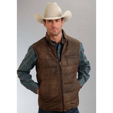 Stetson Men's Leather Puffy Vest - Brown