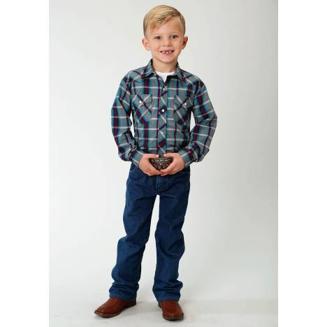 Roper Boys Plaid Snap Western Shirt - Multi Blue & Wine