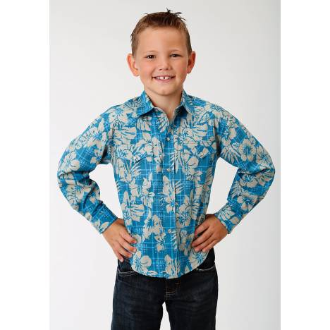 Roper Boys Performance Hawaiian Western Shirt - Blue Tropical Plaid