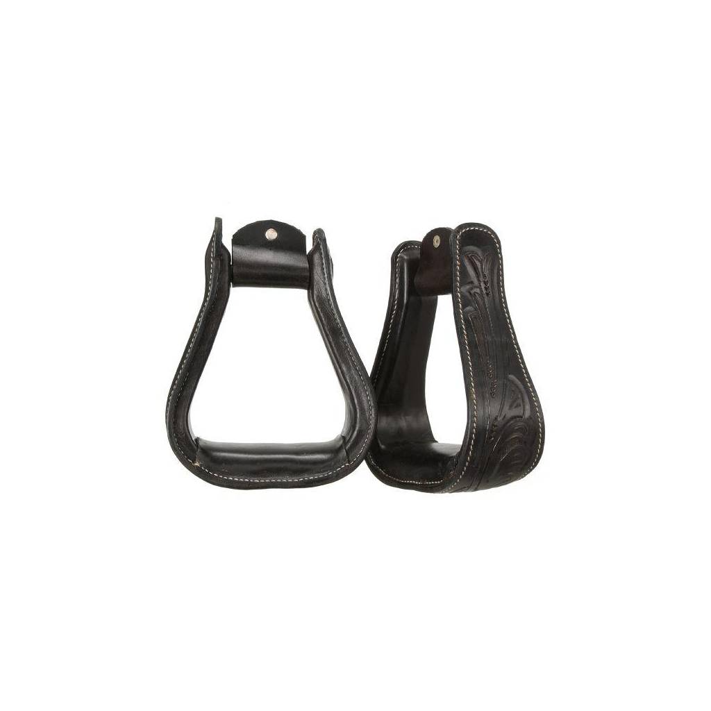 Royal King Embossed Leather Stirrups