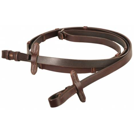 Courbette Plain Leather Reins with Martingale Stops
