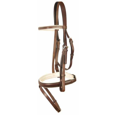 Courbette Square Raised White Padded Bridle with Flash Noseband