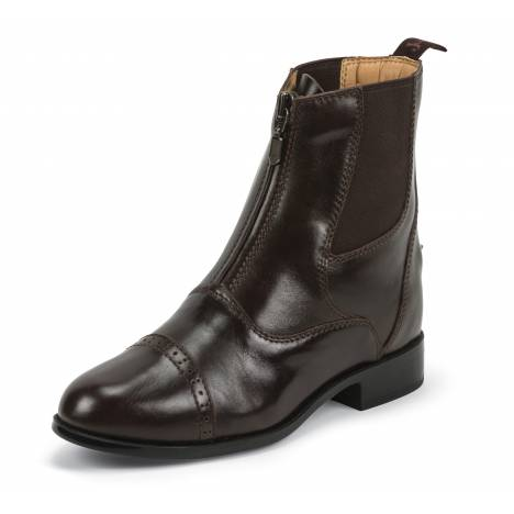 Justin Ladies Zip Paddock Boots - Chocolate Brown