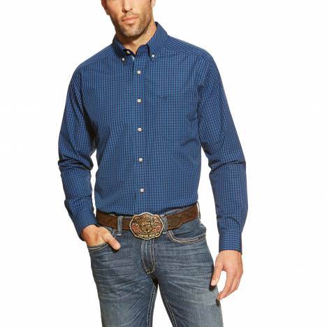 Ariat Mens Dakota Long Sleeve Fitted Performance Shirt - Federal Blue